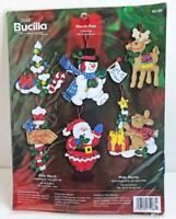 2005 Bucilla NORTH POLE Felt Holiday Ornaments Kit Set of 6 Christmas 85188 New
