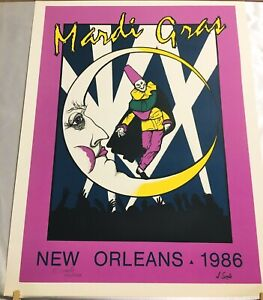 Vintage 1986 Mardi Gras New Orleans Moon & Jester Poster Signed & Numbered!!