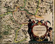 Historische Landkarte Tirol, Tirolensis, Cortina, Trient, Bozen, Meran 1658