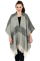 Womens Shawl Boutique Ladies New Soft Boucle Yarn Tonal Stripe Wrap Scarf Coat