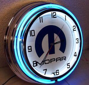 """18"""" MOPAR Sign Double Neon Clock Dodge Plymouth Ram Chrysler"""