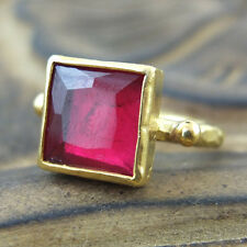 Handmade Hammered Band Square Ruby Ring 24K Gold Over 925K Sterling Silver