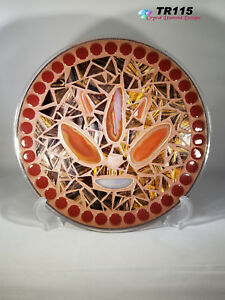 Brown, Rust & Gold with Agates Mosaic Tray Handmade  Great for your home TR115