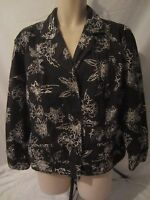 Chico's Black White Floral Button Front Jacket - Women's Size 3 (XL) - AA66