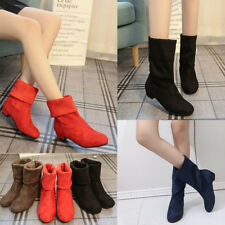 Womens Ladies Mid Calf Boots Winter Faux Suede Fold Over Low Chunky Heel Shoes