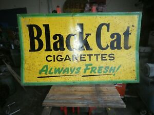 "BLACK CAT CIGARETTE ADVERTISING TIN ENAMEL ORIGINAL SIGN COLLECTABLE 59""  X  34"""