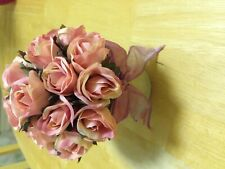 artificial flowers in pot-pink roses with bow