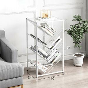 7 Tier Display Shelf Bookcase Bookshelf Storage Rack Metal Flower Magazine Stand