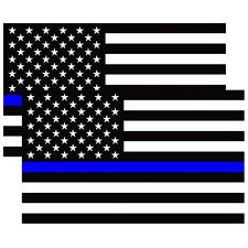 2x Blue Line US American Flag Vinyl Sticker Decal Blue Lives Matter