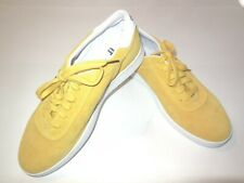 Aprix Men's Suede Leather Sneakers sz 40 US 7 Yellow Shoes Lace Casual Low Top