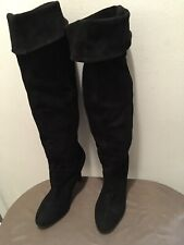 Colin Stuart Womens Over The Knee Black Suede Slip On Boots Size 9M