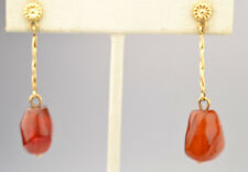 VINTAGE 14K YELLOW GOLD LARGE CHUNK AMBER 1.75 IN. LONG DANGLE PIERCED EARRINGS