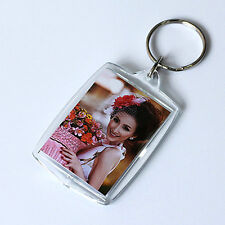Transparent Blank Insert Photo Picture Frame Keyring Keychain Keyfob Gift 2Pcs