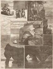 Pictured Rocks. Lake Superior. Harper's Weekly. 1877 Engraving