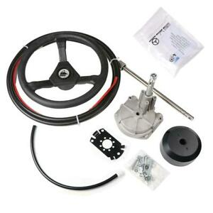 """Boat Rotary Steering System Outboard Kit 14 Feet Marine With 13"""" Wheel US Fast"""