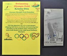 OTTO KRISTIN GERMANY SWIMMING x6 OLYMPIC GOLD MEDALS 1988 SIGNED PICTURE