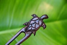 Handmade finely carved TURTLE wooden HAIR PIN FORK PICK Sono wood new carving