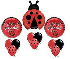 Ladybug Happy Birthday Balloon Bouquet Set Party Red Black Mylar Latex Lady Bug,