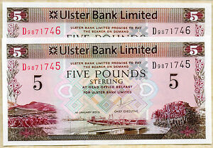 ULSTER bank LTD Belfast £5 five pound banknotes 2001 2013 currency of N Ireland