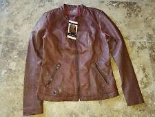 Nwt Womens Sebby Collection Jacket Faux Leather Jacket Red Brown Small S