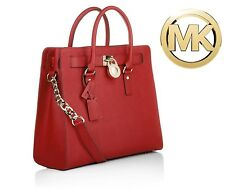 """Michael Kors """"The Perfect Red"""" Large Saffiano Leather N/S Hamilton Tote Bag NWT"""