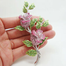 Fashion Jewelry Beautiful Pink Rhinestone Crystal Rose Flower Brooch Pin