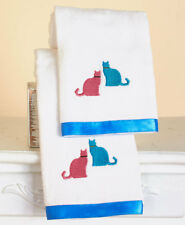 Whimsical Cat 2 Hand Towels Cool Kitty Meow Pet Embroidery Trimmed Towels Set