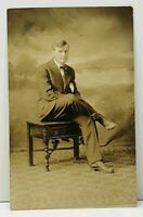 RPPC Young Man Seated for Studio Photo Postcard C9