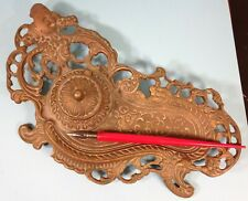 Antique Brass Hinged Baroque style Inkwell Dip Pen Rest