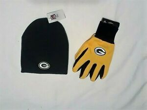 GREEN BAY PACKERS YELLOW GLOVES & GREEN BEANIE HAT SET