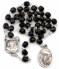 Jet Black St Saint Michael Padre Pio Guardian Angel Rosary Beads Chaplet 6MM