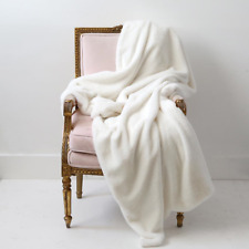 $249 Rachel Ashwel Shabby Chic Couture Soft White Faux Fur Throw Nwt