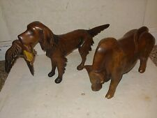 2 Vintage Solid Wood Wooden Retriever Dog With Duck,Brahma Bull Steer Statues