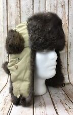 Lake Of The Isles Northern Cap Co. Rabbit Fur Trapper Hat Ear Button Flap M New