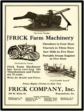 1928 Frick Farm Machinery New Metal Sign: Thresher & Gas Tractor, Saw Mill Pics