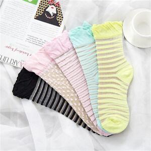 NEW Women Ankle Socks Elastic Ultrathin Transparent Striped/Dot Cotton Silk Sock