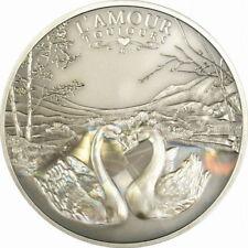 2011 Cameroon Large Antiqued Silver Hologram 1000 fr Swans Love Forever-L'Amour