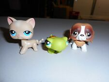 Hasbro Littlest Pet Shop lot Seaside Celebration #228 Cat #229 St Bernard #230 T