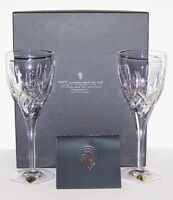 "STUNNING PAIR OF SIGNED WATERFORD CRYSTAL LISMORE NOUVEAU 8 3/4"" GOBLETS IN BOX"