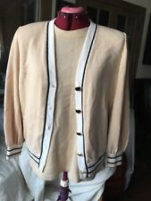 ST. JOHN COLLECTION Cardigan & Short Sleeve Twinset Size Large Pink & Rare!!!