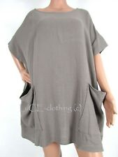 NEW Womens Oversize Linen LAGENLOOK Square Cut Pocket Tunic TOP