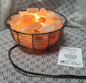 Himalayan Ionic Salt Crystal Basket Lamp Night Light w/Manual-9""