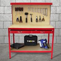 Werkbank mit Lochwand Werktisch Arbeitstisch Stecktafel Schublade Werkstatt Rot