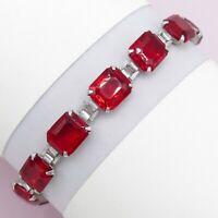 Vtg Art Deco Sterling Silver Filigree Cherry Red Glass Paste Line Bracelet