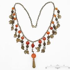 Antique Vintage Deco Sterling Silver Plated Turkish Carnelian Festoon Necklace