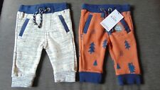 M&S 2 Pairs Cotton Rich Joggers 1 Trees, 1 Broken Stripe 3-6m 69cm Grey Mix BNWT