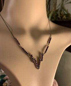 Beautiful Vintage 1950s Garnet Necklace Pendant Gold Plate Vermeil 33 Stones