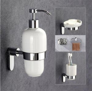 Bathroom Soap Dish Dispenser Towel Ring Hook Toilet Brush Tumbler Holder Shelf