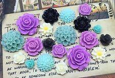 20pcs - Resin Flower Cabochons - Purple/Teal/Black/Cream