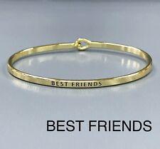 Engraved Brass Plated Bangle Bracelet Gold Finished Best Friends Message